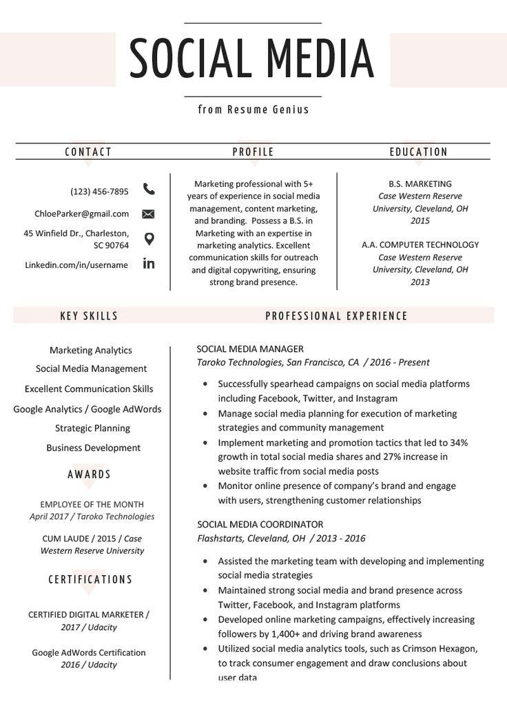 Modern Resume Example skills Word in 2020 Marketing