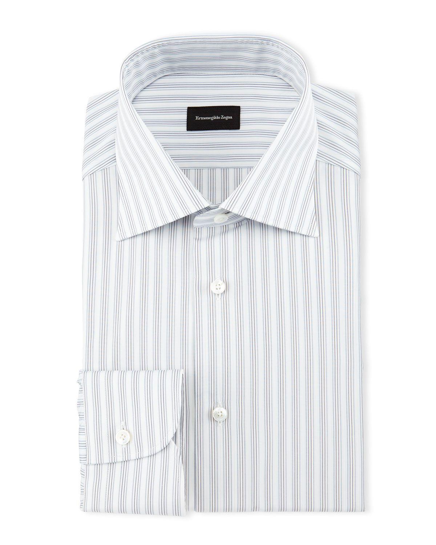 dce512a97e Track-Stripe Woven Dress Shirt White | *Clothing > Shirts & Tops ...