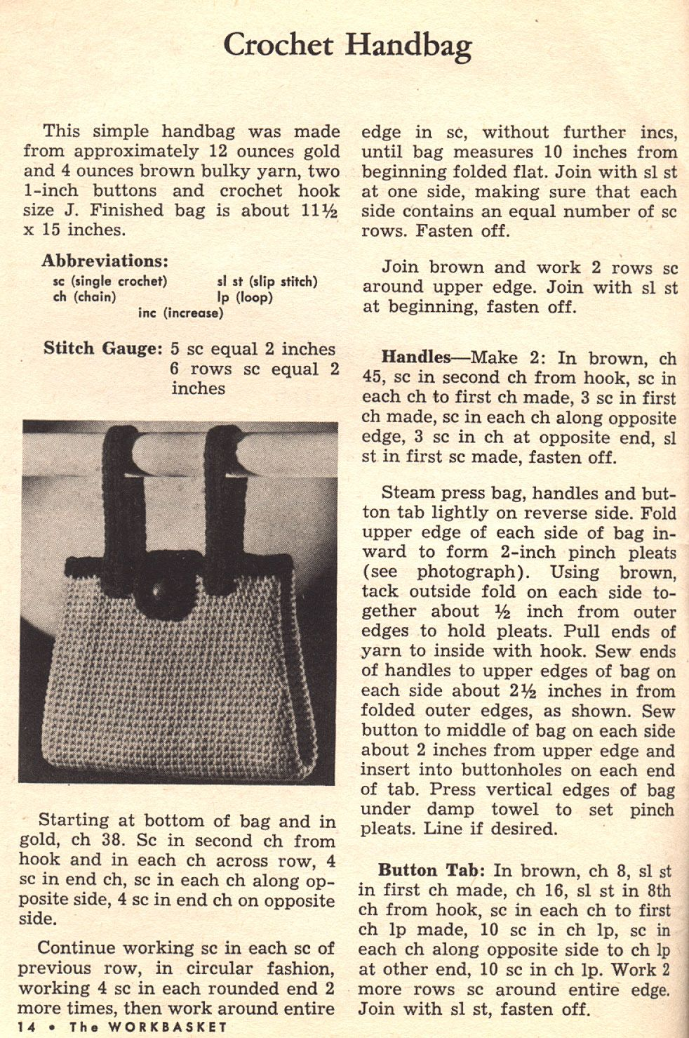 Things Your Grandmother Knew: Crochet A Handbag With A Button Tab ...