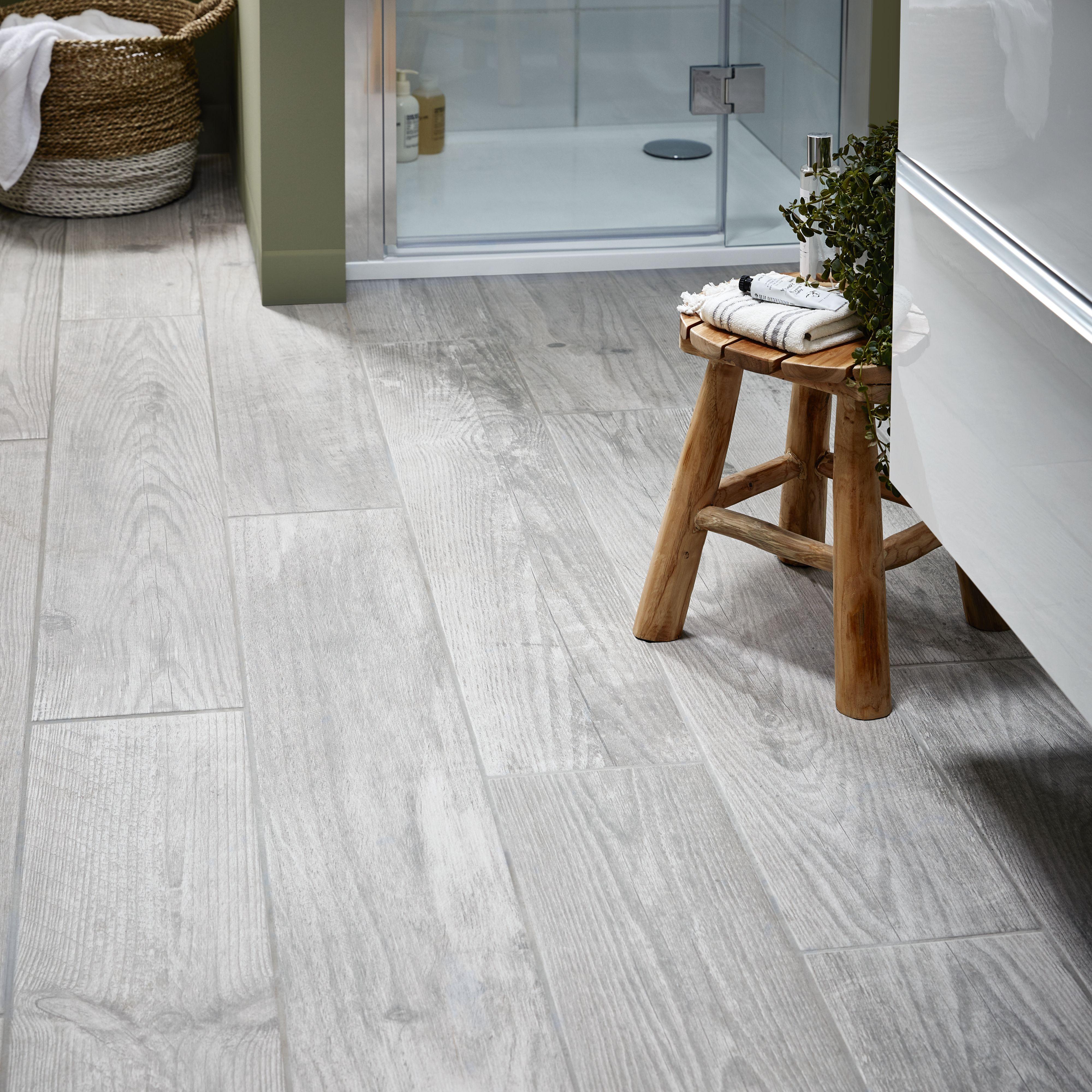 Cotage Wood Grey Matt Wood Effect Porcelain Floor Tile Pack Of 4 L 1200mm W 200mm Porcelain Flooring Porcelain Floor Tiles Tile Floor Diy
