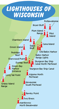 Wisconsin Lighthouse Map Travel In 2019 Wisconsin Vacation Lake