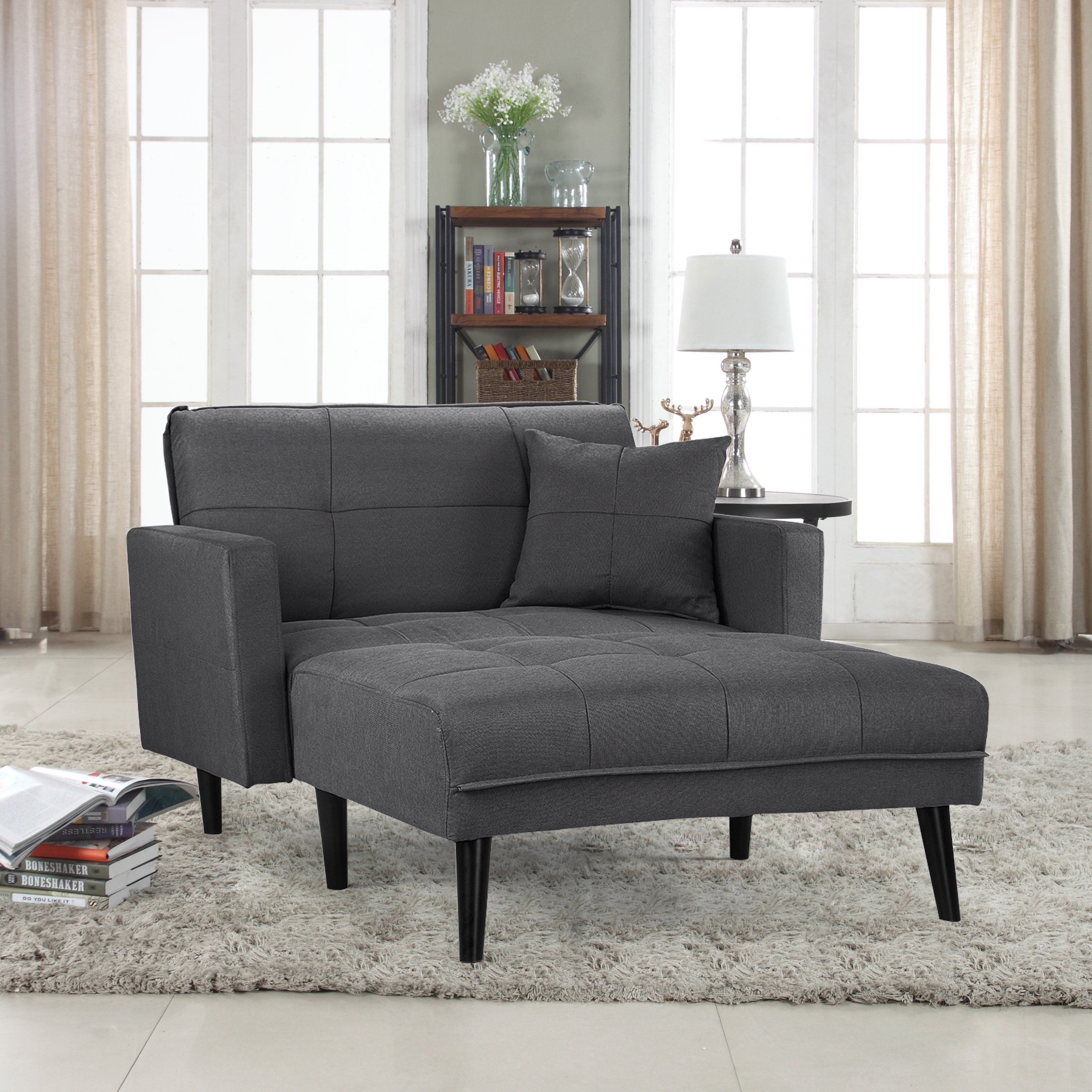 Madrid Contemporary Linen Sleeper Chaise Lounge Home