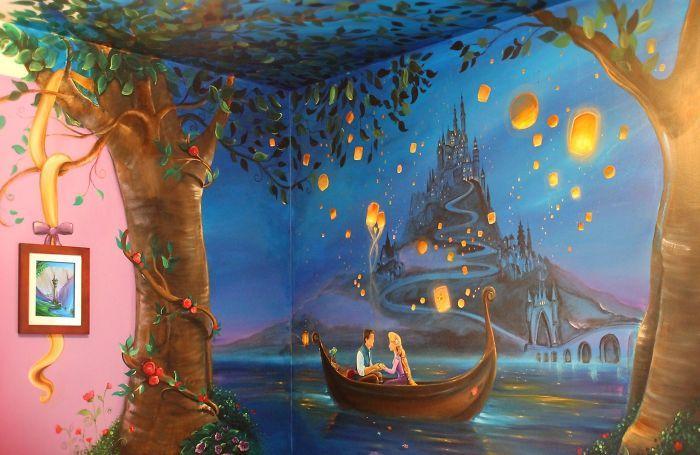 Une jeune maman a peint une fresque raiponce sur les murs de la chambre de sa fille et le - Raiponce petite ...