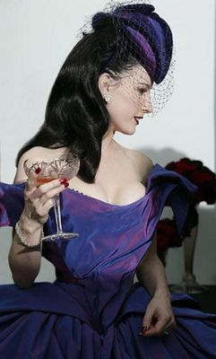 Dita Von Teese S Wedding Dress Was Custom Designed By Vivienne Westwood Made From Seven Meters Of Swiss Silk Faille In Shot Violet