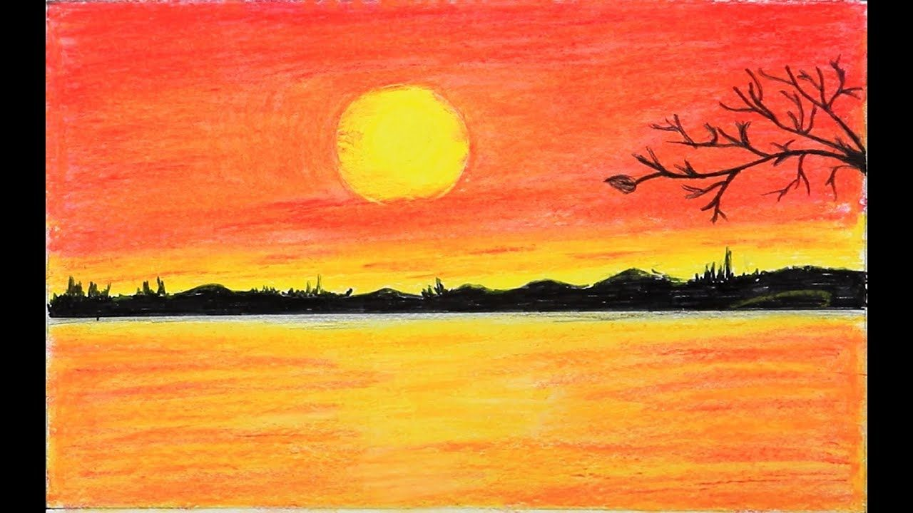 How To Draw Scenery Of Red Sunset With Oil Pastels Step By Step