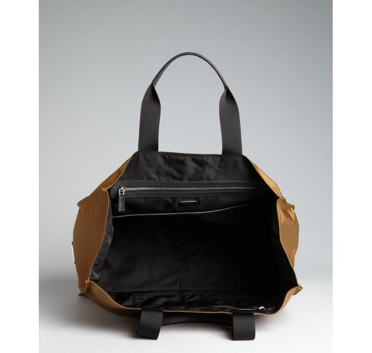 9adc9385abf7 Prada Tobacco and Black Nylon Oversized Top Handle Tote in Gold for Men  (tobacco)