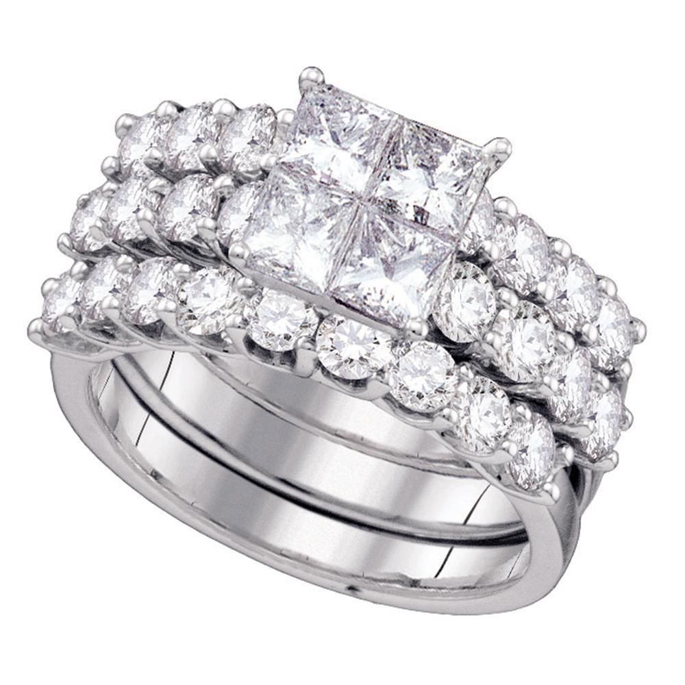14k White Gold Womens Princess Diamond 3Piece Bridal