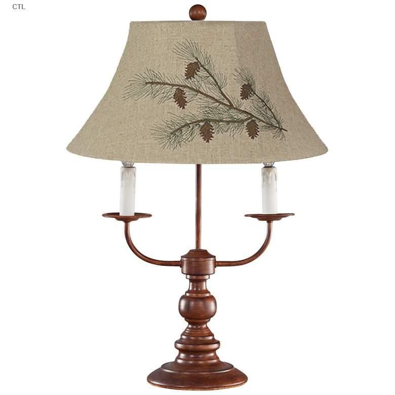Table Lamps Bayfield Pinecone Shade 3 Light Rustic Western Table Lamp Di 2020