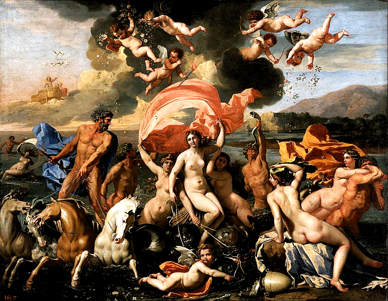 The Triumph of Neptune by Nicolas Poussin, showing Amphitrite velificans (1634), Philadelphia Museum of Art, USA  #culture #geography #science #world #life #art #education #writing #research  #travel #holiday #books #knowledge #facts #nature #places #countries #cities #towns #villages #continents #tourism #vacation #entertainment #newspapers #magazines #usa #america #mythology #heritage