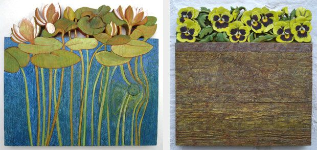 Water Lilies bas-relief, painted Pansy Border bas-relief, painted