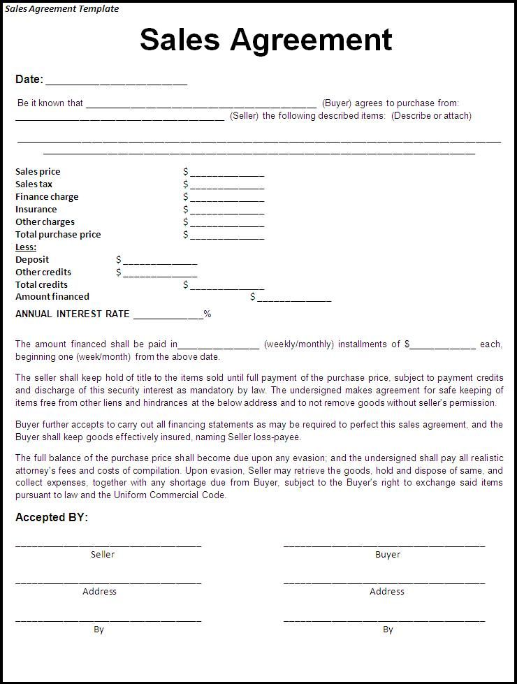 sale agreement form