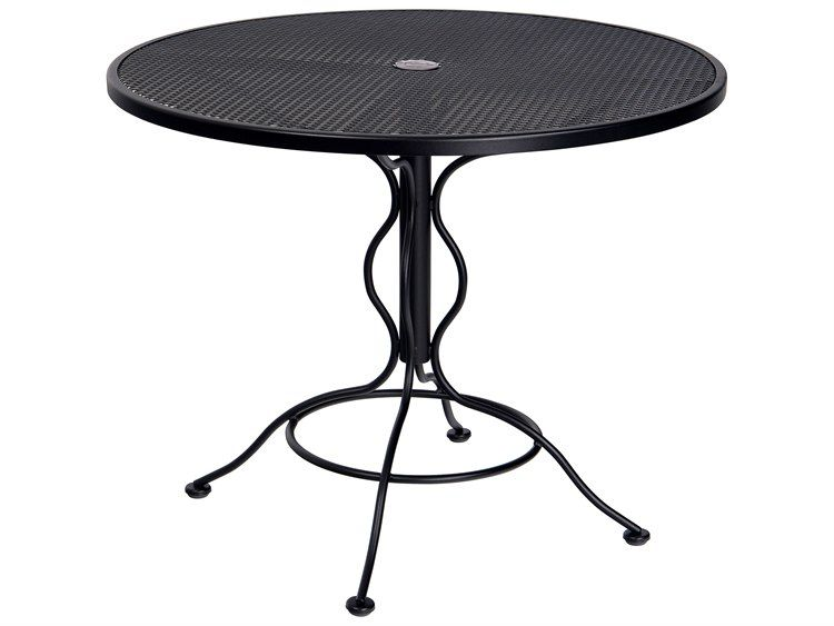 Woodard Wrought Iron Mesh 36 Wide Round Bistro Table With Umbrella Hole Bistro Table Patio Dining Table Wrought Iron Bistro table with umbrella hole