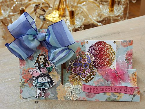 Mothers day card : Stepper Card(Magenta template) student's creation