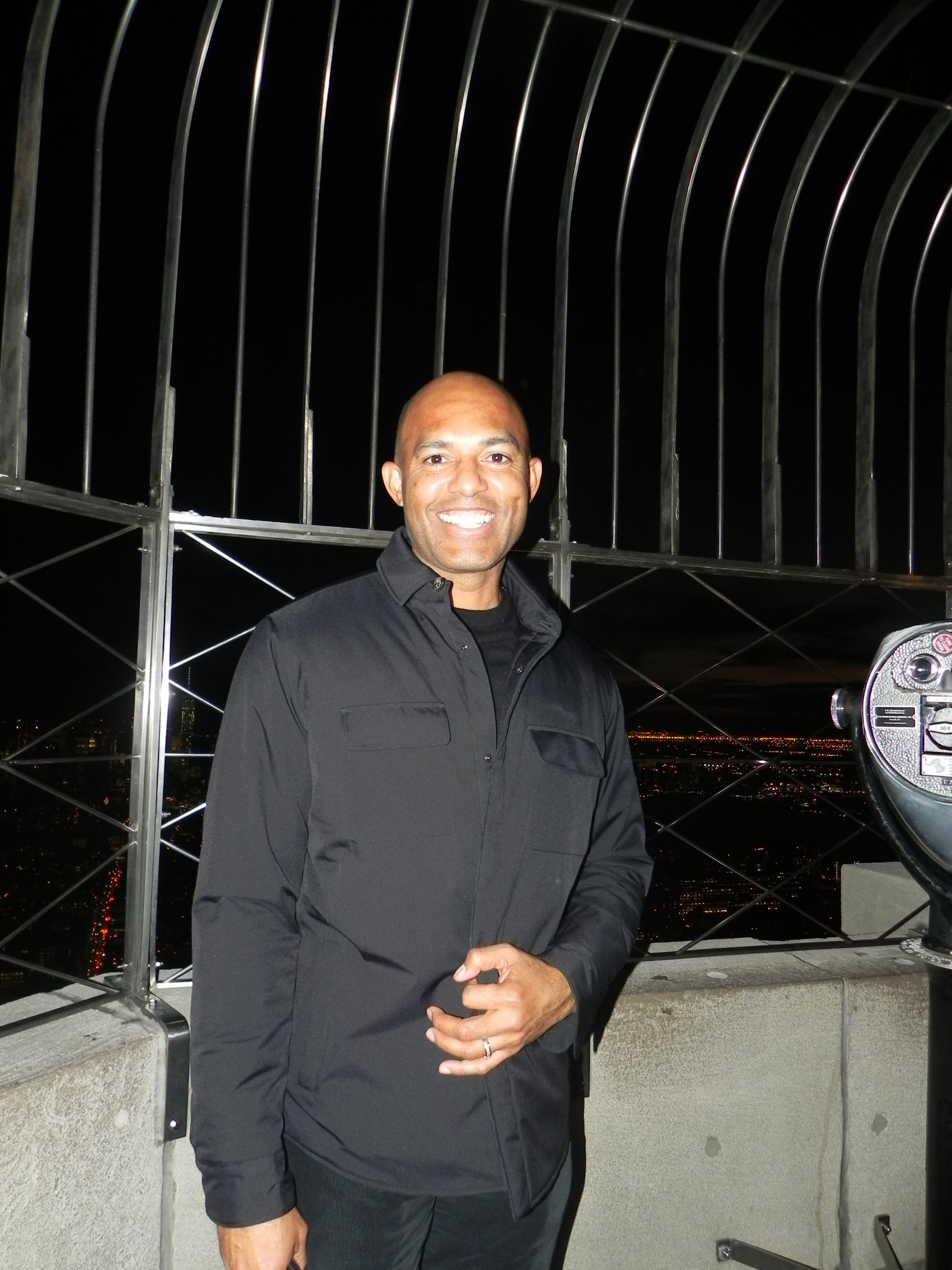 October 20, 2014: Former @yankeesbaseball pitcher Mariano Rivera takes in the evening views from the Empire State Building.