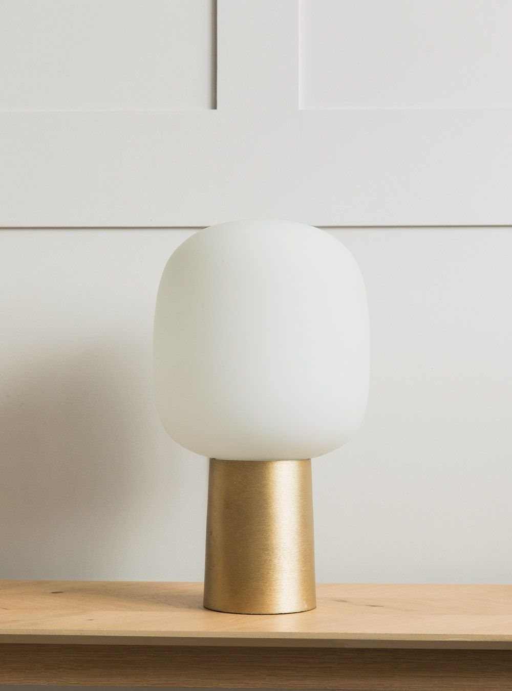 This Sleek Stylish Lamp Is Perfect For A Larger Side Table Lighting Up A Dark Corner Of A Room The Lamp Features A Streamlined Brass Stand And White Shade