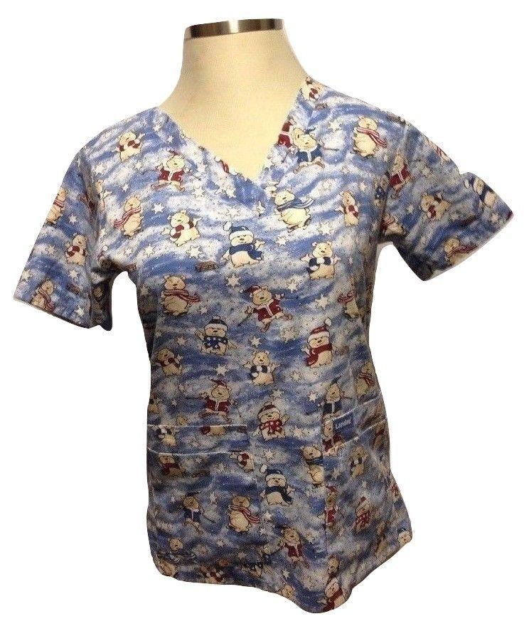 landau women scrub top shirt winter teddy bears snow skiing blue christmas small