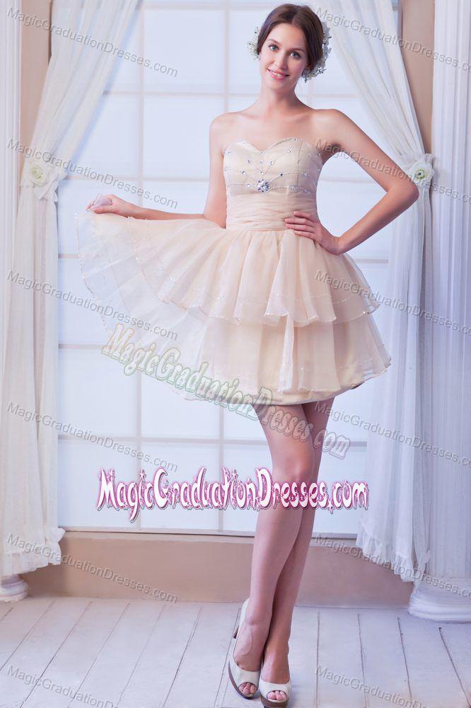 Cute Sweetheart Beading Layers Champagne Short Graduation Dresses