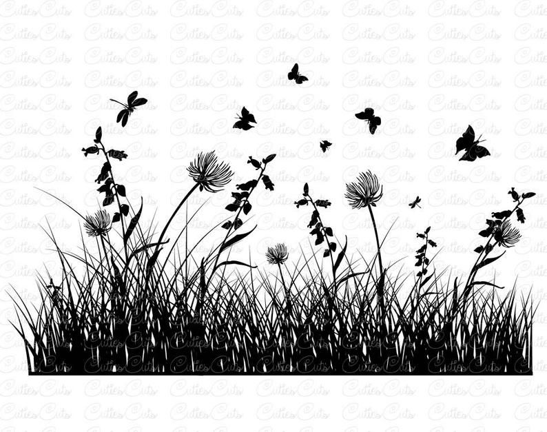 Grass Silhouette Wildflowers Svg Eps Dxf Png Vector File Herbs Pngio Grass Silhouette Silhouette Art Canvas Painting Diy