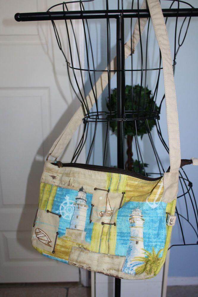 PAUL BRENT cross body/messenger bag-light #house,#sea,signed #MessengerCrossBody