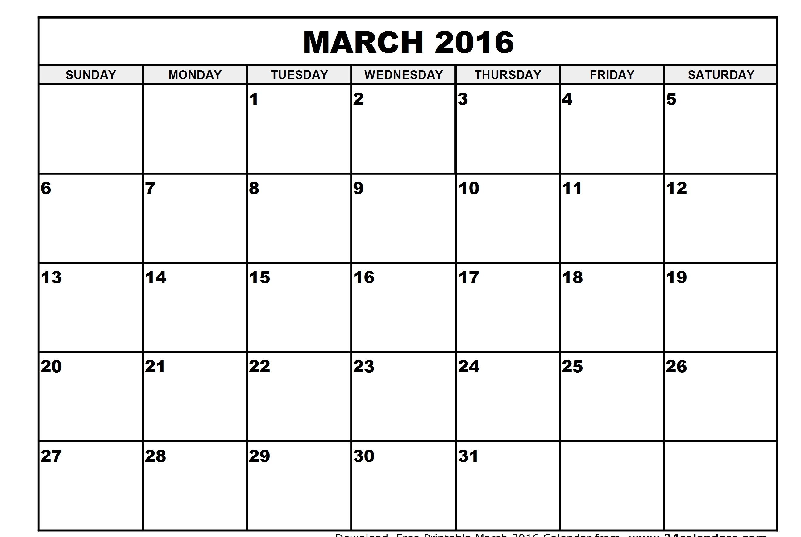 March Month calendar printable 2016 – Free Printable Monthly Calendar