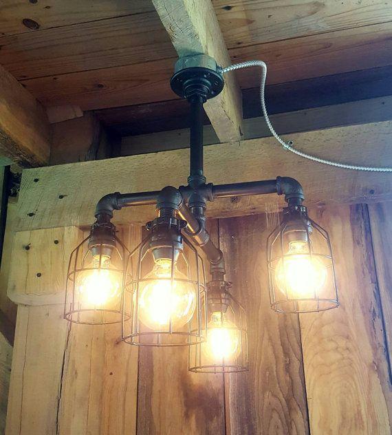 Industrial lighting rustic chandelier iron pipe ceiling for Iron pipe ceiling light