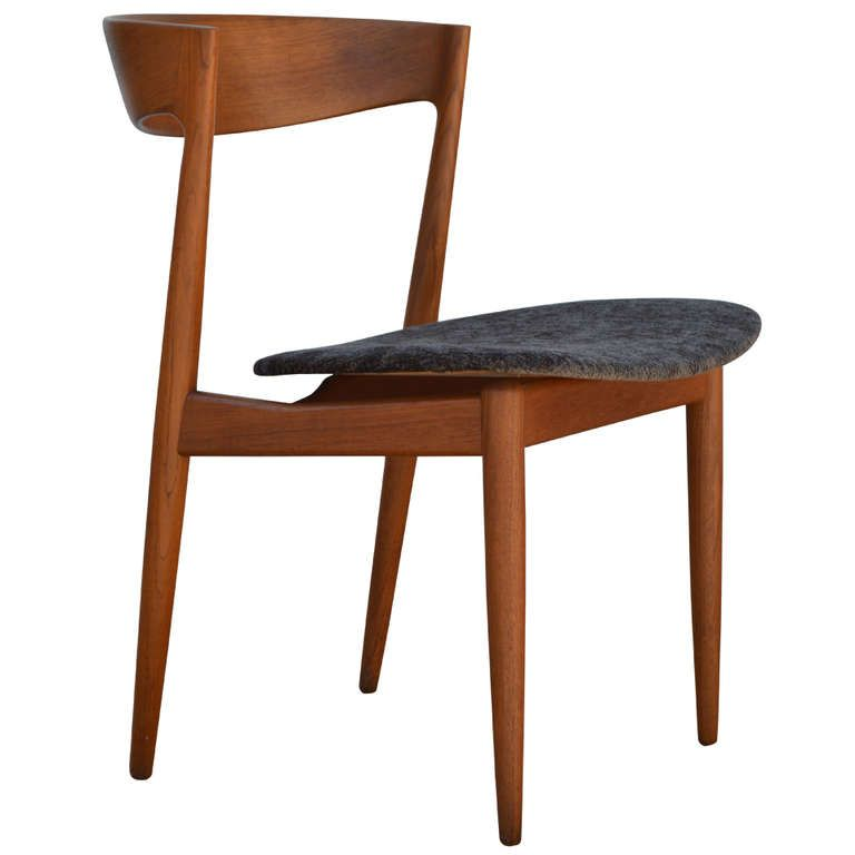 danish mid-century modern aerodynamic teak side chair | side chair