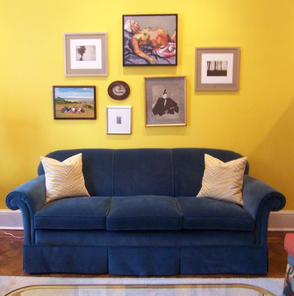 Admirable Blue Sofa Designs For Fascinating Living Room Marveolus Navy Design With Three Seat Pads And Painting Picture Frame Light Yellow