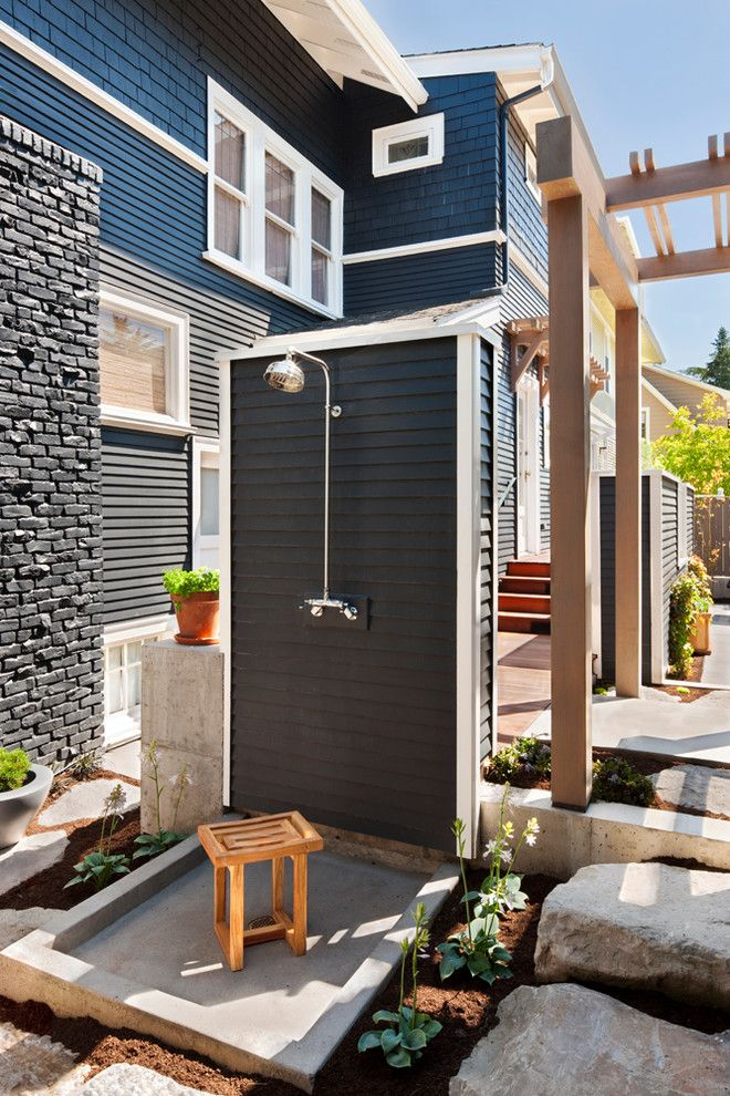 20 Amazing Transitional Outdoor Designs | Kohler shower, Clapboard ...