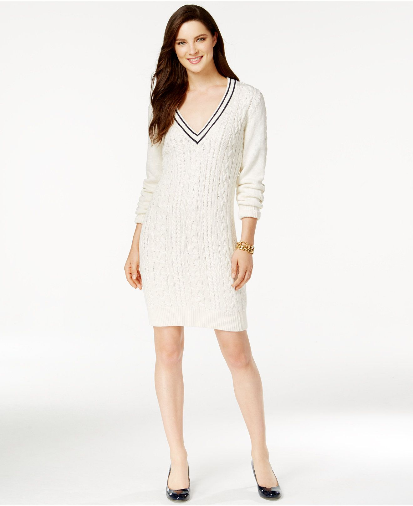 Tommy Hilfiger Cable-Knit V-Neck Sweater Dress - Dresses - Women ...