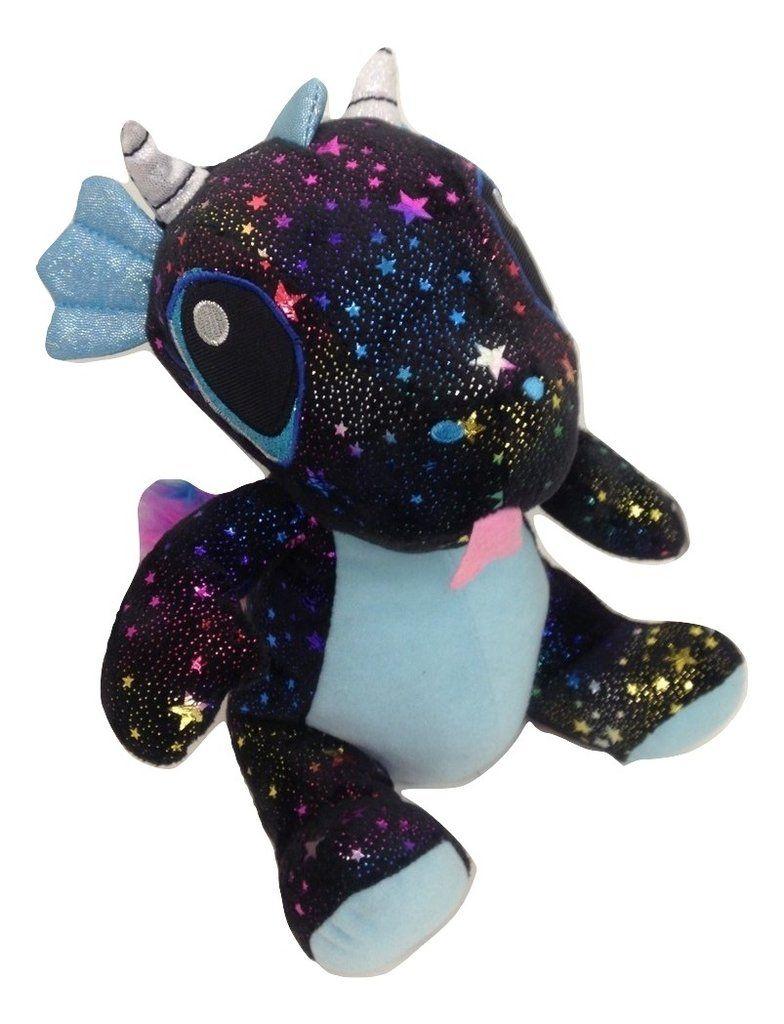 Fiesta toys black comet sparkle sitting dragon plush