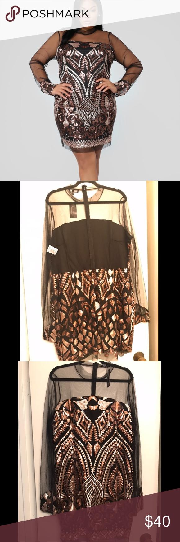 Fashion Nova Marquee Sequin Dress NWT Size 3X Fashion