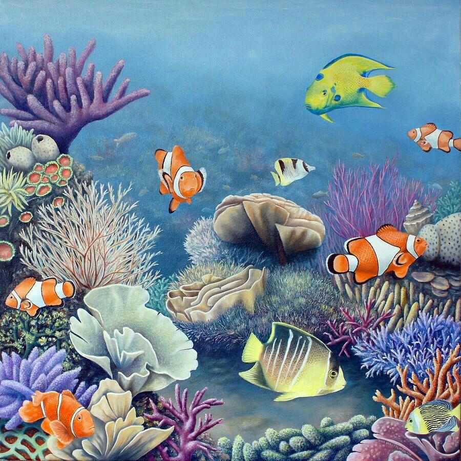Akvaryum resimleri Coral painting, Ocean painting