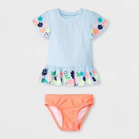 991abea7d03c7 Cat & Jack Baby Girls' Floral Short Sleeve Rash Guard Set - Cat & Jack  #babygirl, #promotion