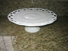 Milk Glass White Cake Stand Colony Lace Pitman Dreitzer Plate Vintage Pedestal