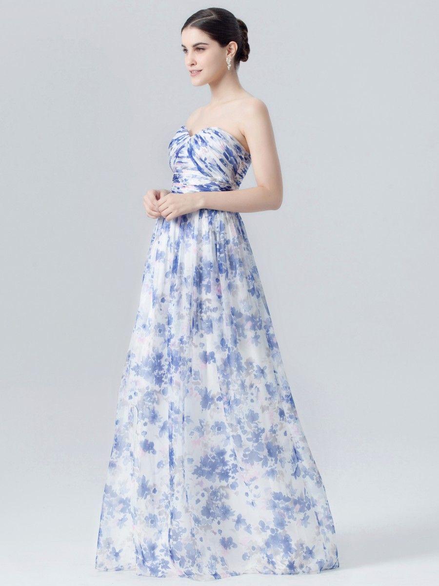 Floral print wedding dresses  Sweetheart Long Dress in Sapphire Garden Print  wedding ideas