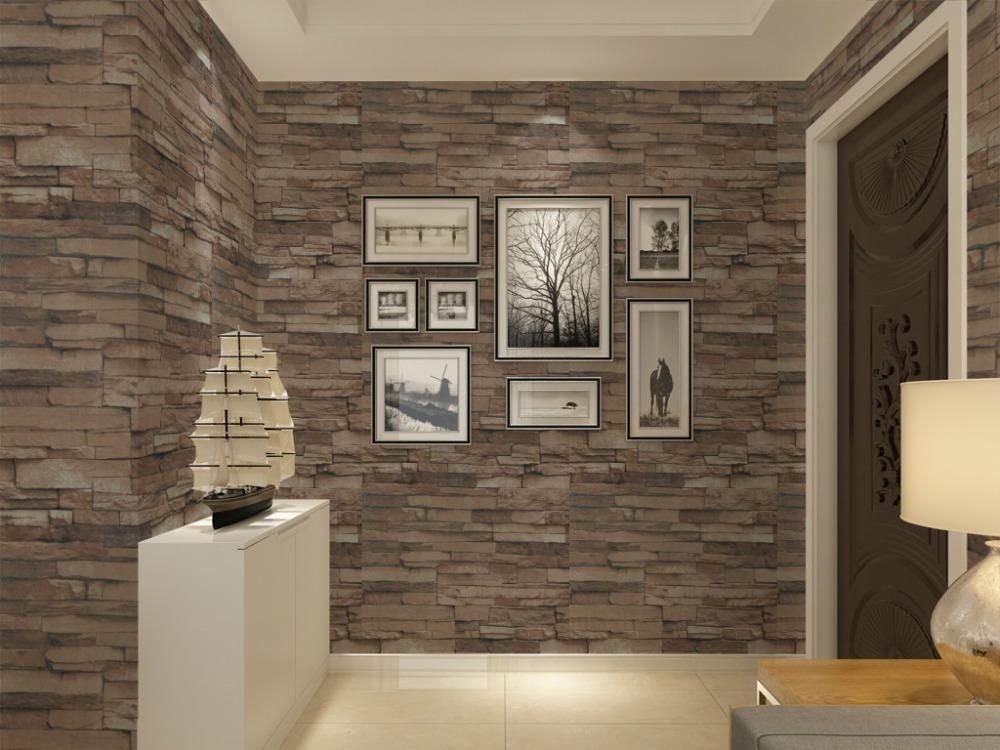 Vinyl textured embossed brick wall wallpaper modern 3d for Living room 3d tiles
