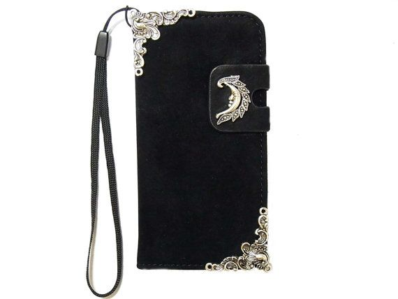 Moon iPhone 6 Wallet case,iphone 6 leather case,iphone 6 Flip Case,Velvet Fabric, Victorian iphone 6 PLUS leather wallet case cover Black    - It can