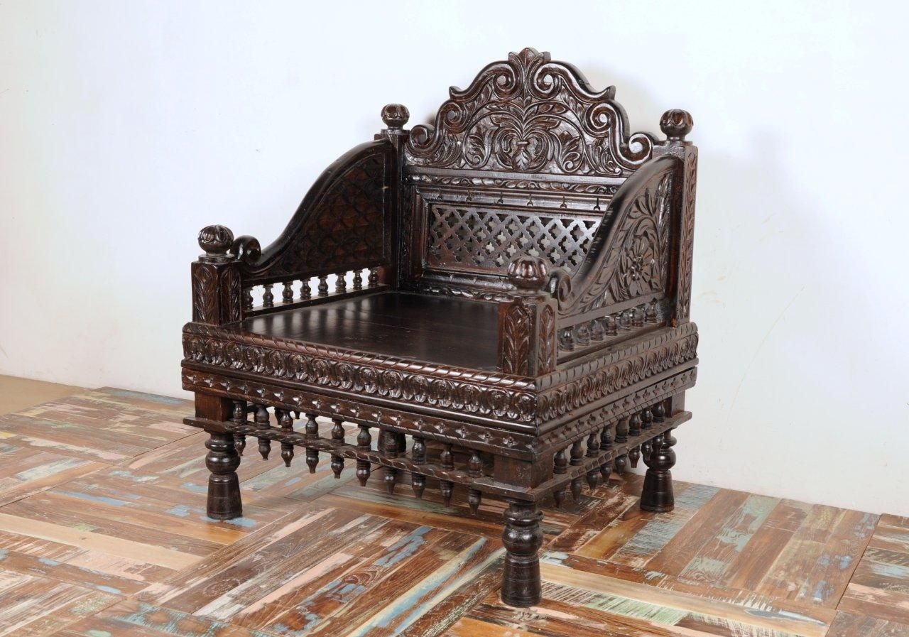 Enjoyable Indian Carved Maharani Sofa Single Seater In 2019 Ibusinesslaw Wood Chair Design Ideas Ibusinesslaworg