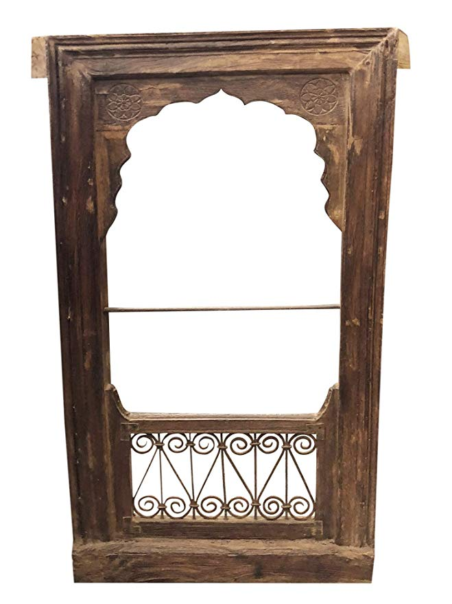 Brighten Up Any Room With This Delightful Antique Window Frame Rich With History And Detail Work The Jharokha Mirror Window Frame Decor Frame Decor Wooden Arch