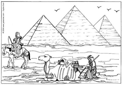 Coloring Page Pyramids Of Giza Img 6455 Coloring Pages Egyptian Drawings Pyramids Egypt