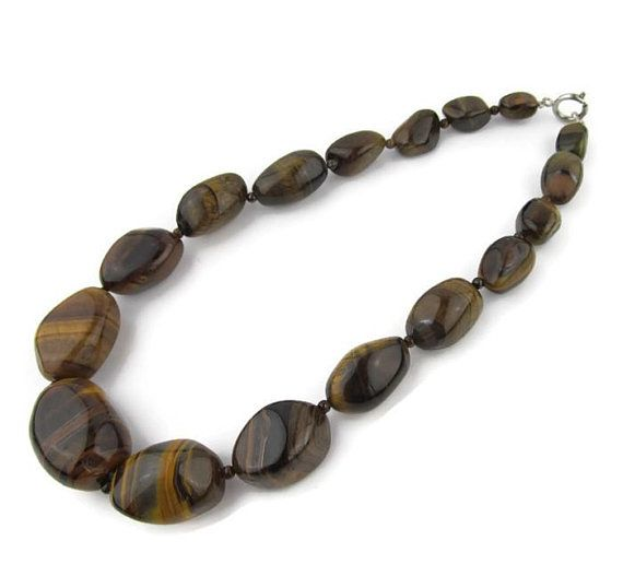Caramel Cat S Eye Ring Diamontrigue Jewelry: Items Similar To Tiger's Eye Bead Necklace Vintage 1960s
