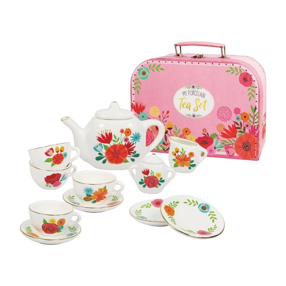 Bright Stripes Porcelain Tea Set Carry Case Porcelain