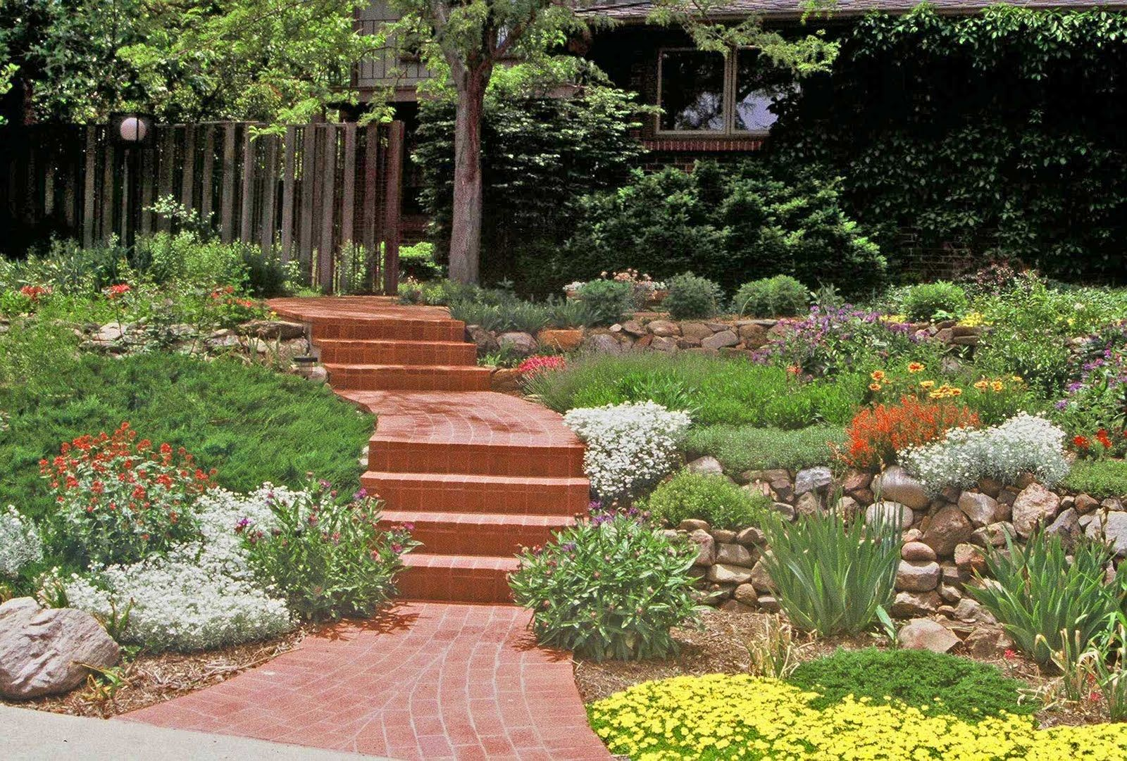 Xeriscape small front yard difficult slope is tamed with for Lawn and garden landscaping ideas