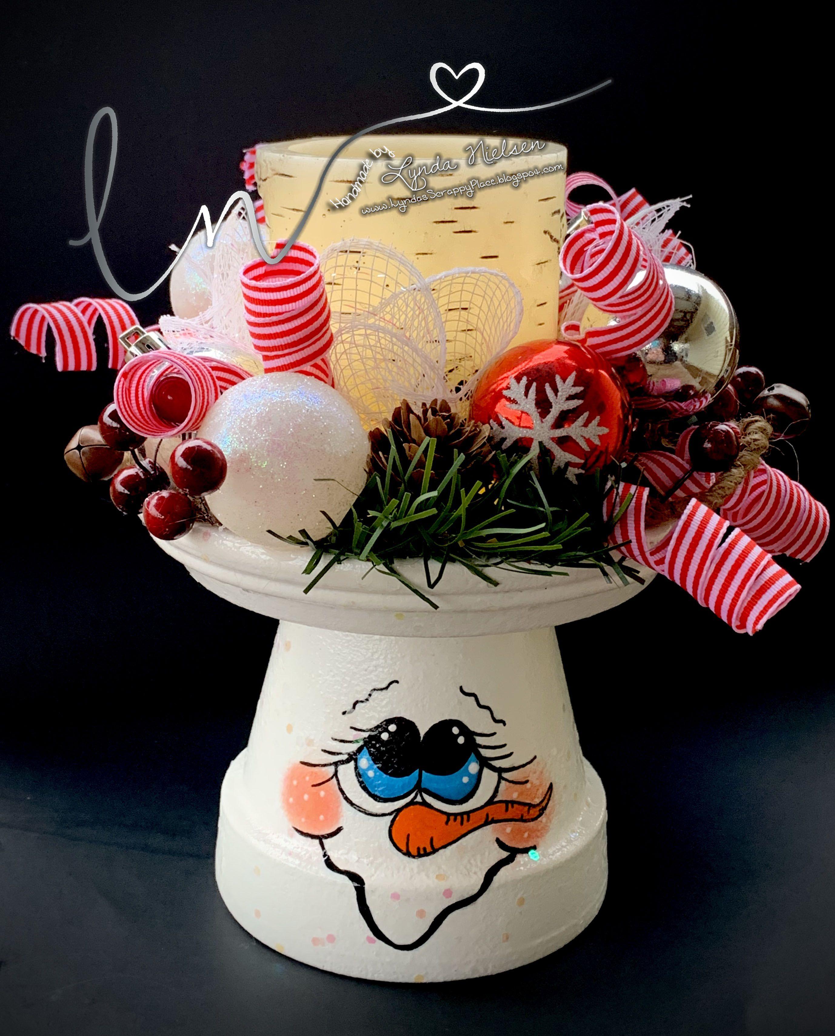Claypotsnowman snowmanpot snowmancandleholder painted
