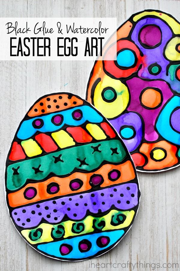 Black Glue And Watercolor Resist Easter Egg Art I Heart Crafty