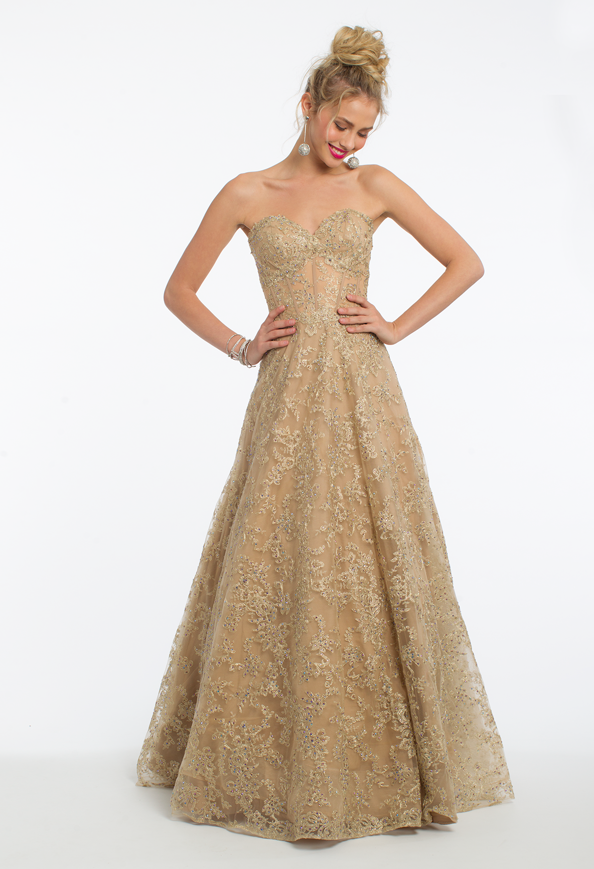Be the golden girl with this stunning ball gown dress the strapless