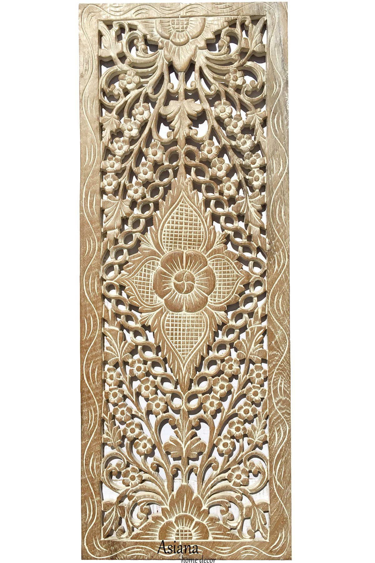 Floral Wood Carved Wall Panel Wall Hanging Decorative Contemporary Wall Panel 35 5 X13 5 X0 5 Color Option Available Carved Wood Wall Art Wall Paneling Carved Wood Plaque