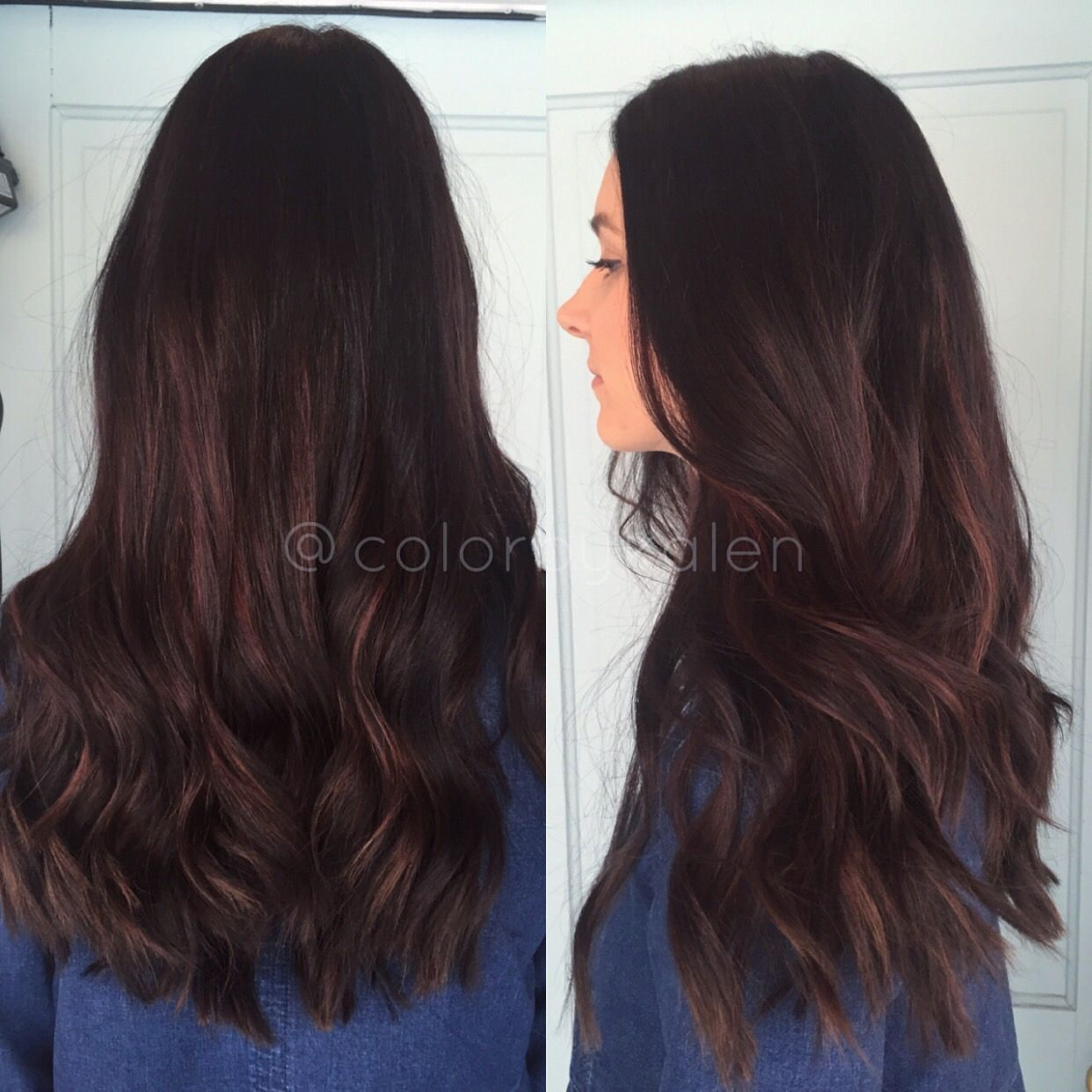 Dark brown hair with burgundy red highlights balayaged in style
