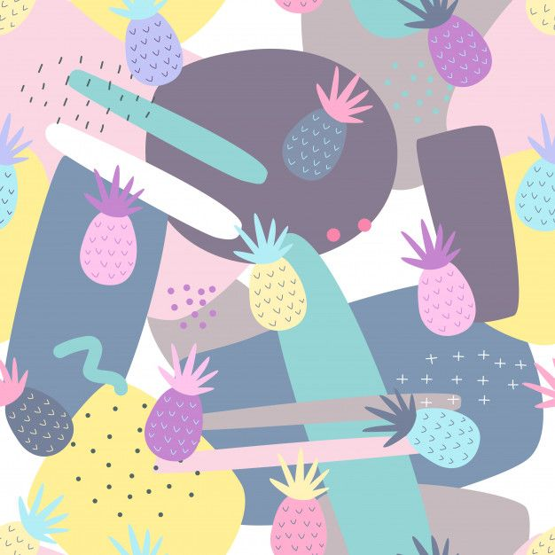 Pineapple Seamless Patterns On Abstract Background. In