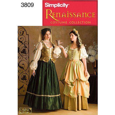 Simplicity Pattern Misses' Renaissance Costumes 40 40 40 Awesome Walmart Dress Patterns